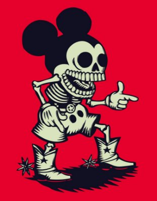 Quadro Decorativo Poster Mickey em Caveira