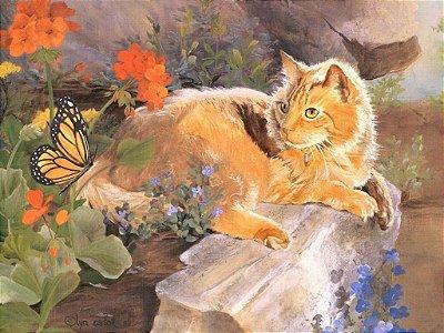 Quadro Decorativo Poster Gato e Borboleta