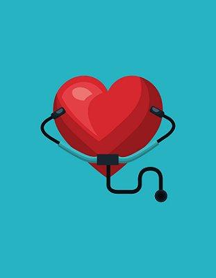 Quadro Decorativo Poster Coração com Estetoscópio