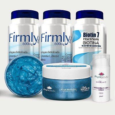 Combo Firmeza da pele e lifting facial (2 Firmly + Biotin 7 + Máscara Marinha + Sérum de vitamina C) 5 itens PW5UB2JCQ