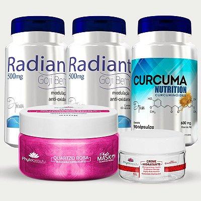Combo Ação Preenchedora (2 Radiant + Curcuma Nutrition + Máscara Quartzo Rosa + Creme Hidratante) 5 itens 5MRVBGAVA