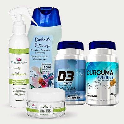 Combo Tratamento e Controle Secativo (Curcuma Nutrition + D3 + Sabonete Facial Banho de Natureza + Loção Tônica Adstringente + Gel Secativo) 5 itens GAN4FBDYH