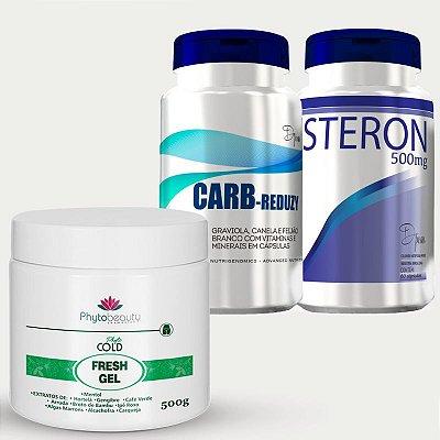 Combo Redução Medidas (Carbreduzy + Steron + Fresh Gel) 3 itens XPUDVBRTD