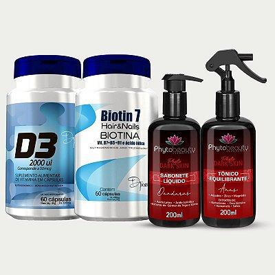 Combo Pele dos Sonhos (Biotin 7 + D3 + Sabonete Dark Skin + Tônico Equilibrante) 4 itens MF2PP36MQ