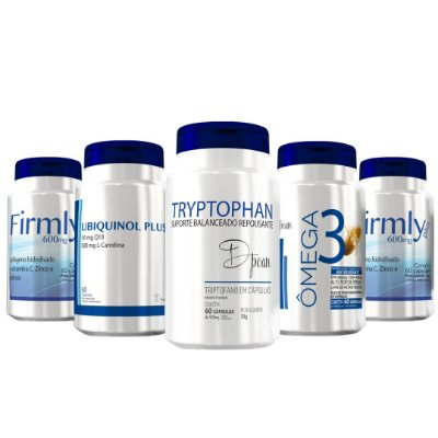 Combo Nutrição Mental Avançado (1 Tryptophan, 1 Ubiquinol, 2 Firmly, 1 Ômega 3) - D'poan - 300 Cápsulas - U65835T8U