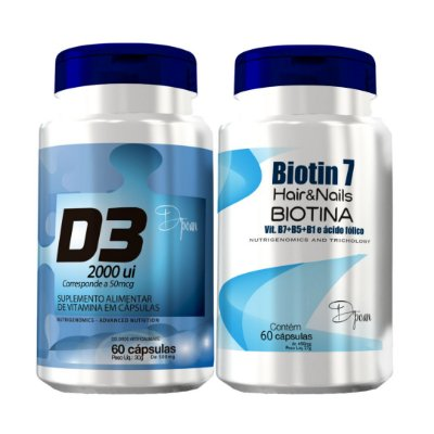 Combo Hair Power Standard (1 Biotin7, 1 D3 2000 UI) - D'poan - 120 Cápsulas - KRTCX5K9U