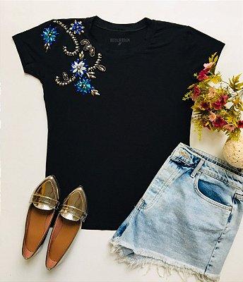 Tshirt Preta Floral