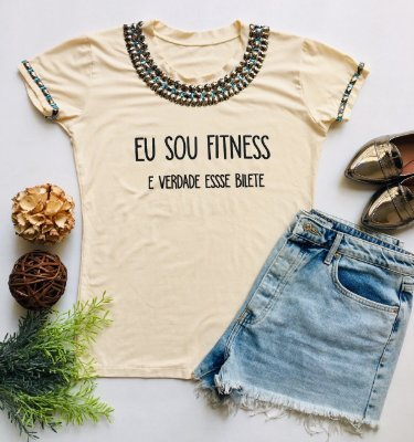 Tshirt Bege Eu sou fitness