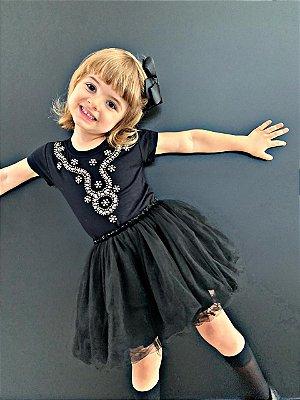 Tshirt Infantil preta bordado ondulado