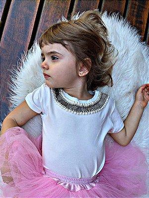 Tshirt Infantil off white Pérola gola