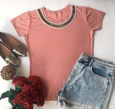Tshirt Rosé Pérolas gola