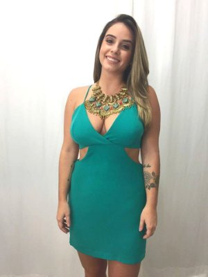 Vestido Decote Cintura- Verde