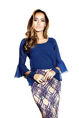 Blusa Mousseline com Perola no Punho- Azul Marinho