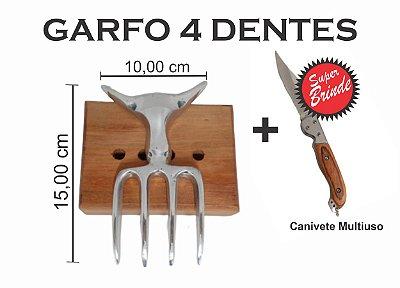 SUPER OFERTA - Garfo 4 Dentes de Alumínio e Canivete Multiuso
