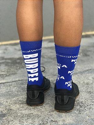 Meia do Poder - BURPEE NUNCA NEM VI - Cano curto (azul com Branco)