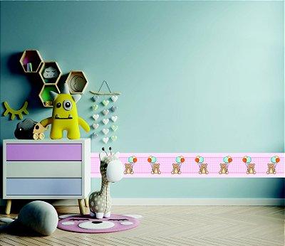 Adesivo faixa de parede Ursinho com Balões