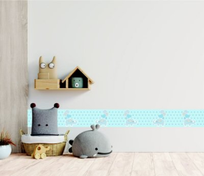 Adesivo faixa de parede Elefante com Balões