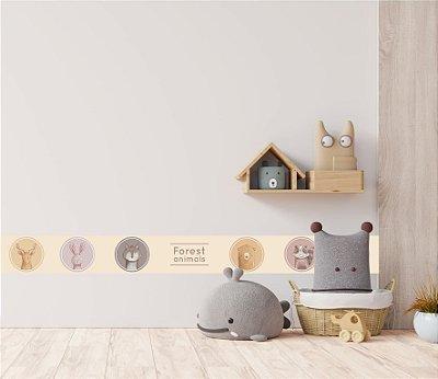 Adesivo faixa de parede Animais da Floresta Aquarela