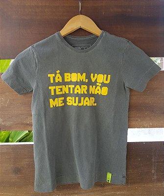 Camiseta Infantil Vou Tentar Não Me Sujar Estonada Preta
