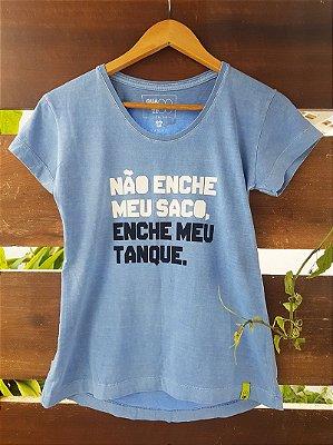 Camiseta Feminina Enche meu Tanque Estonada Azul