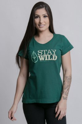 Camiseta Feminina Stay Wild Verde Escuro