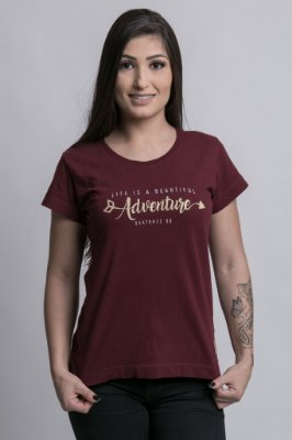 Camiseta Feminina Beautiful Adventure Bordô
