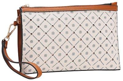 Bolsa Chic Pequena Monograma Star Chenson Branco & Marrom 82740