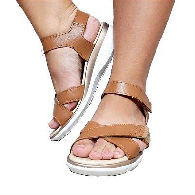 Sandália Em Couro Anabela Pegada Caramelo 232701-03