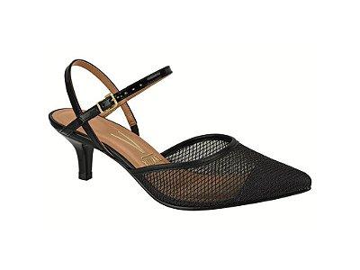 Sapato Scarpin Chanel Vizzano Salto Médio Verniz Preto & Creme 1122.865