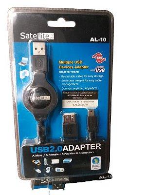 Adaptador USB 2.0  USB Fêmea Retrátil 1M– SATELLITE AL – 10