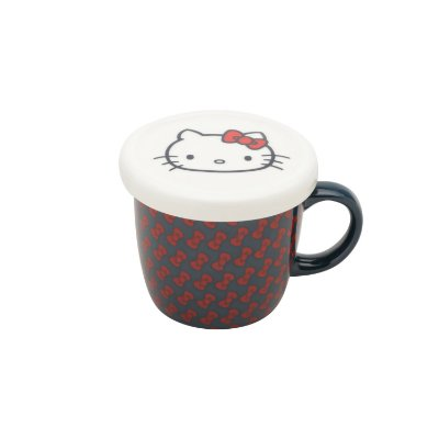 Caneca de Porcelana com Tampa HK Laces FD Azul - 13 x 9 x 8,5 cm - 200 ml - Hello Kitty