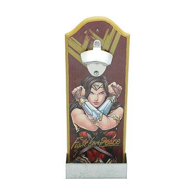 Abridor de Garrafa de Madeira WB WW Movie Fighter Vermelho - 14 x 7 x 36 cm - Mulher Maravilha