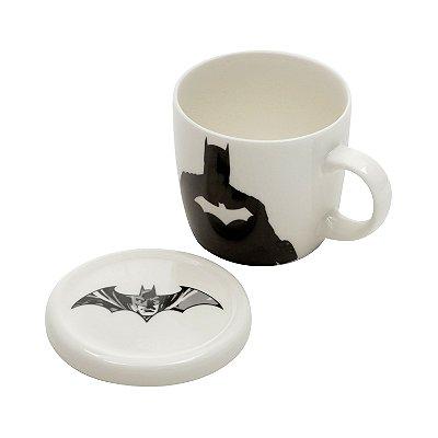 Caneca de Porcelana com Tampa WB JL Core Batman FD Branco - 330 ml - Batman