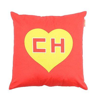 Capa de Almofada em Poliéster CH Chapolin Logo Vermelho - 45 x 45 cm - Chapolin