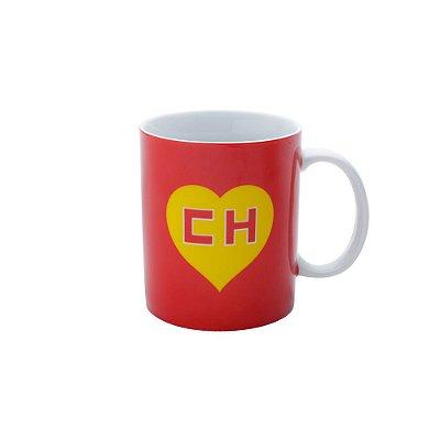 Caneca de Porcelana CH Chapolin Logo Vermelha/Amarela - 12 x 9,5 x 9,5 cm - 300 ml - Chapolin