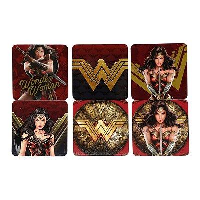 Set Com 6 Peças de Porta Copos em Cortiça WB WW Movie Strong Logos Colorido - 10 x 0,5 x 10 cm - Mulher Maravilha