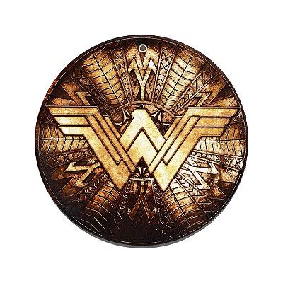 Suporte Descanso de Panela de Cerâmica/Cortiça WB WW Fancy Logo Dourado - 20 cm de Diâmetro - Mulher Maravilha