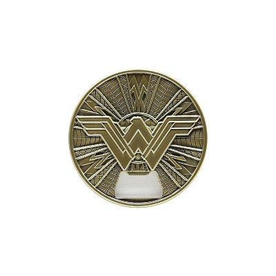 Abridor de Garrafa de Metal Magnético WB WW Movie Fancy Logo Dourado - 8,5 cm de diâmetro - Mulher Maravilha
