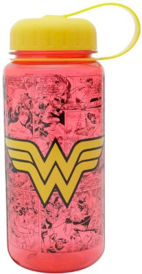 Garrafa Plástica Squeeze Wonder Woman Logo Vermelho - 600ML