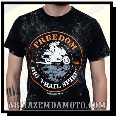 CAMISETA FREEDOM BIG TRAIL SPIRIT STONADA PRETA