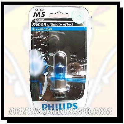 LÂMPADA FAROL AZUL BLUEVISION MOTO M5 PHILIPS 4000K