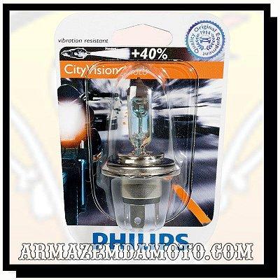 LÂMPADA FAROL CITYVISION H4 35/35W PHILIPS 40% MAIS LUZ