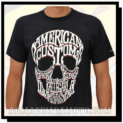 "CAMISETA MOTO MODELO ""WORLD SKULL AMERICAN CUSTOM"""