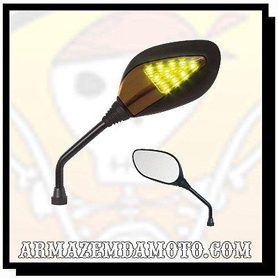 ESPELHO RETROVISOR PRETO COM PISCA LED (PAR)