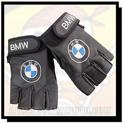 LUVA MEIO DEDO EM COURO COM BORDADO BMW