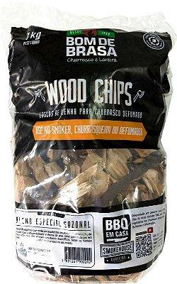 Wood Chips - Lascas para Defumação Bom de Brasa - Blend (sazonal) 1 kg.