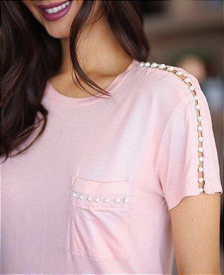 T-shirt   PÉROLAS CORES ROSE E OFF