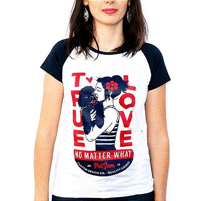 Camiseta feminina raglan marinho True Love