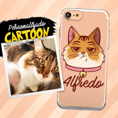 Capa de celular com personalização em cartoon