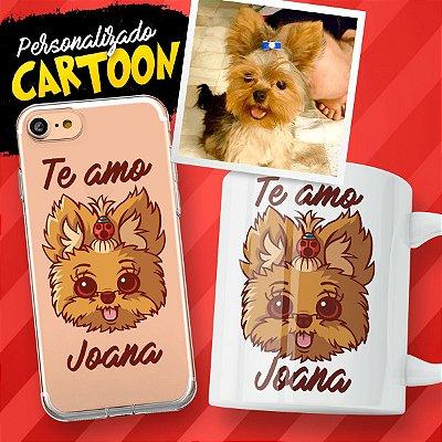 Capa de celular e caneca com personalização em cartoon